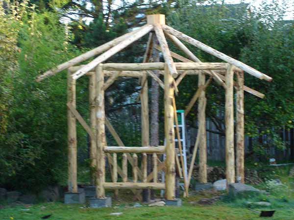 rustic log frame gazebo building the log frame